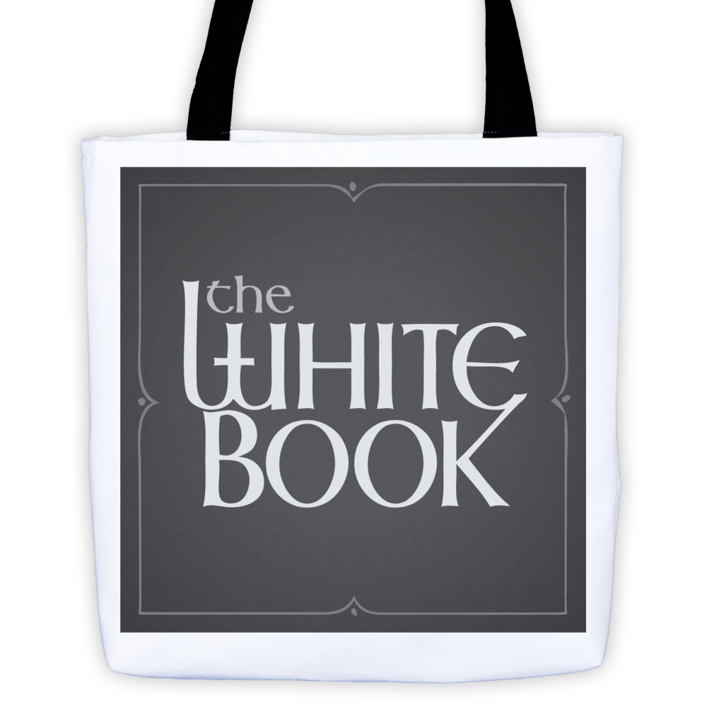 Classic White Book Podcast Tote